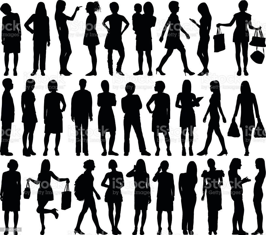 Highly Detailed Women Silhouettes vector art illustration