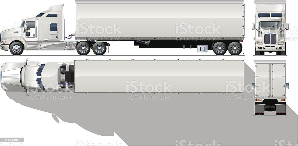 Highly illustrated vector image of semi truck vector art illustration