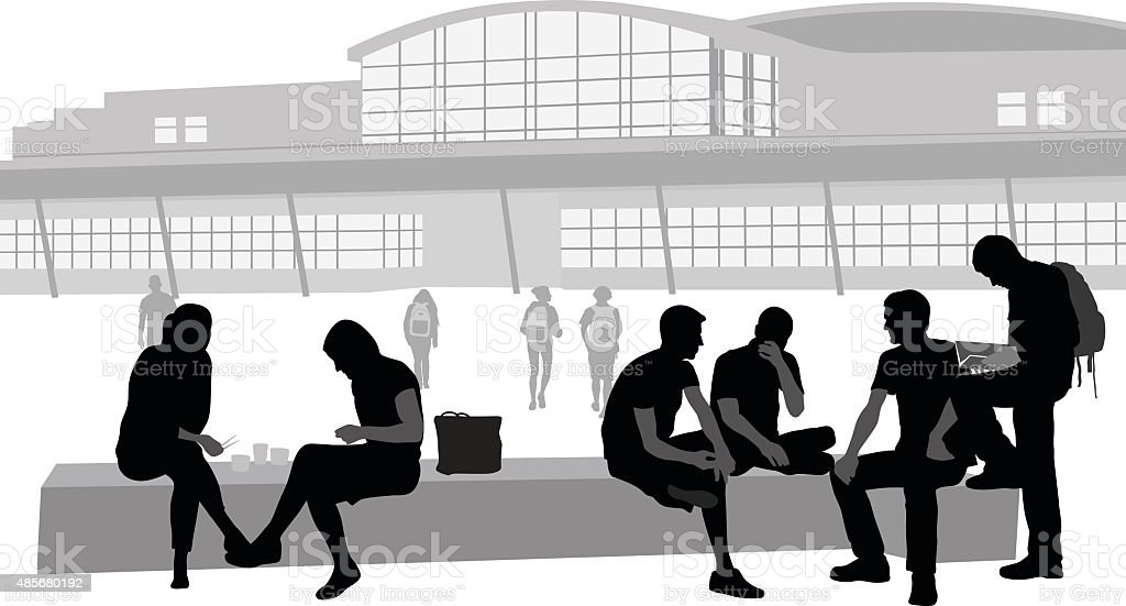 Highschool Students' Bench vector art illustration