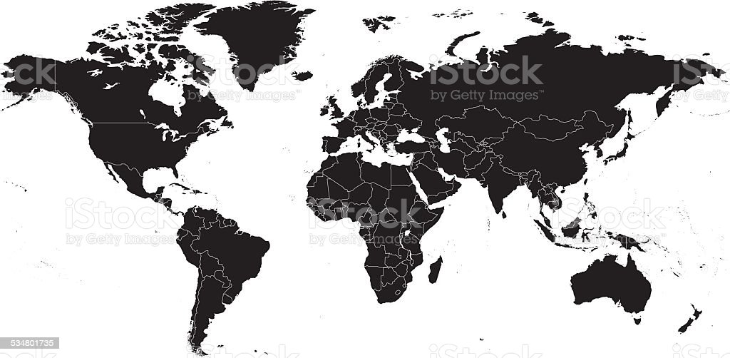 Hight detailed divided world map vector art illustration