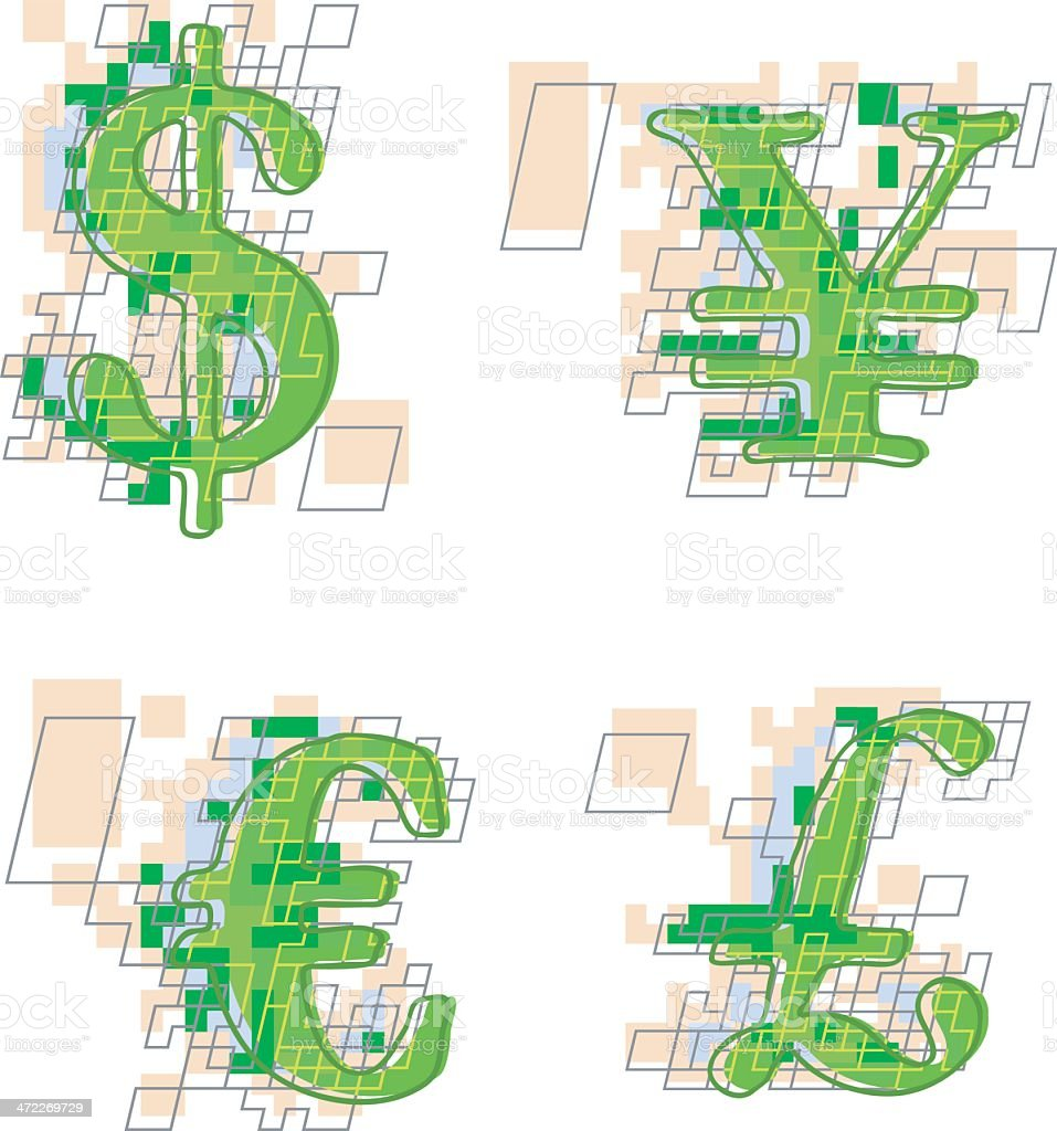 High-Tech Currency Symbols royalty-free stock vector art