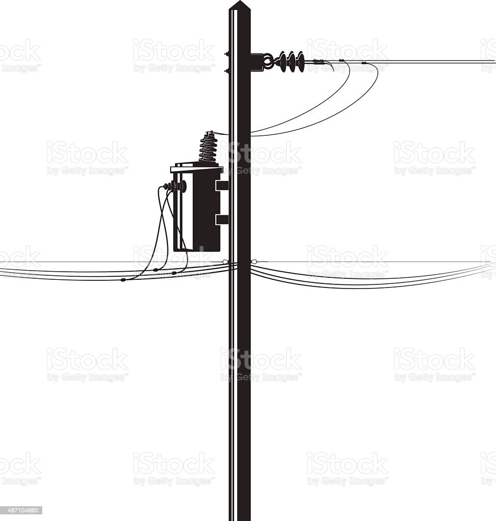High-voltage electric transformer on a pole and wires vector art illustration