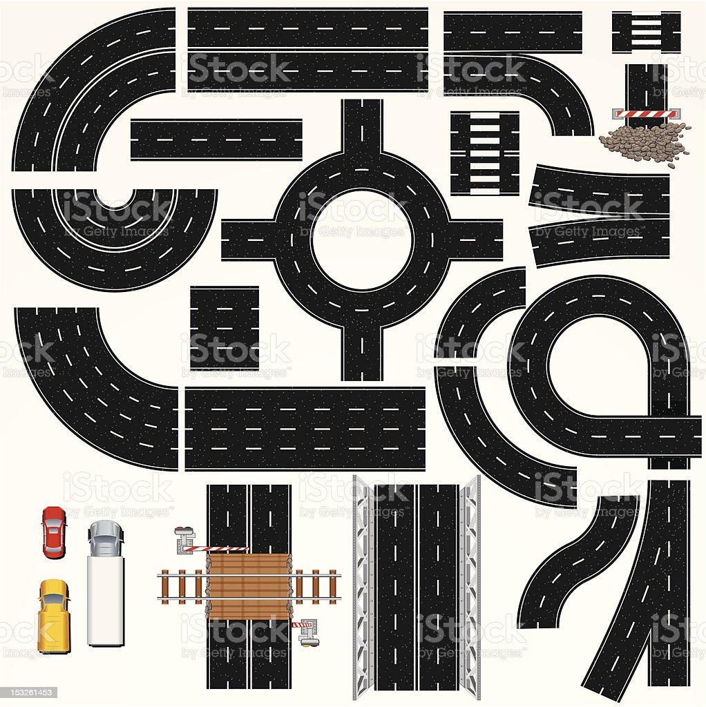 Highway and Road Elements vector art illustration