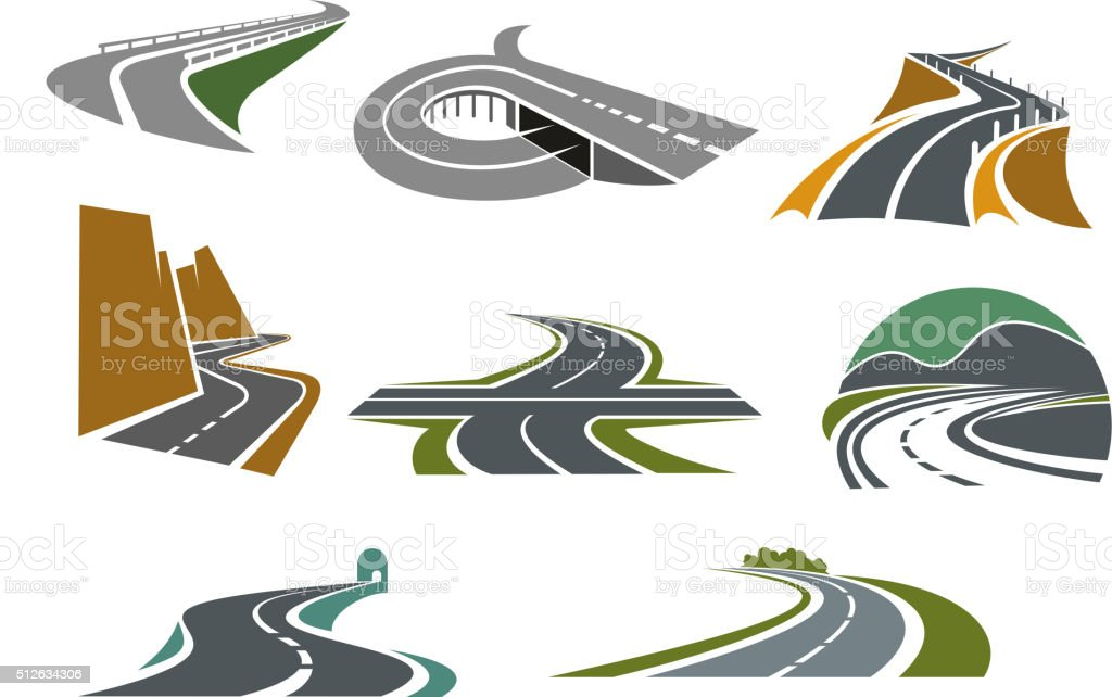 Highway and road icons for transportation design vector art illustration