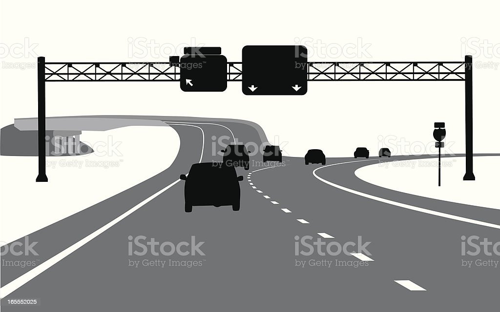 Highway Exit Vector Silhouette royalty-free stock vector art