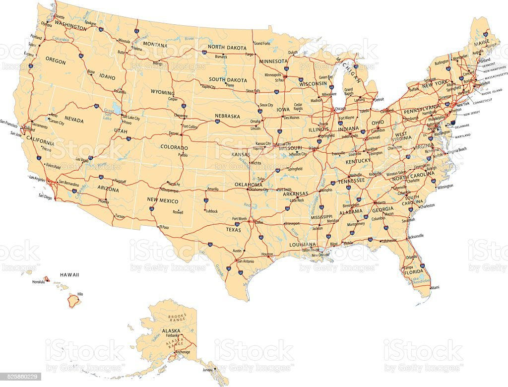 USA Highway Map vector art illustration