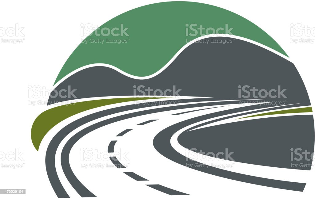 Highway or road disappearing near mountains vector art illustration