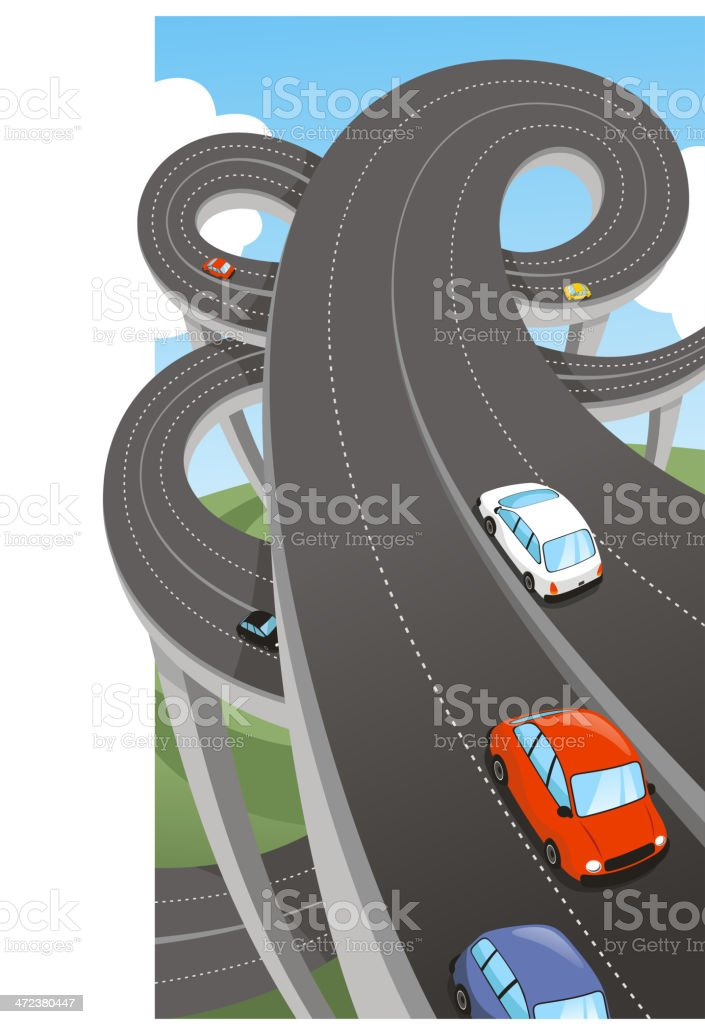 Highway Public Major Road Route Path Waterway Highways vector art illustration