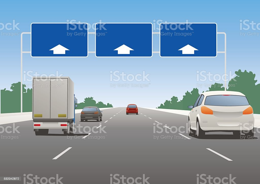 Highway sign and vehicles vector art illustration