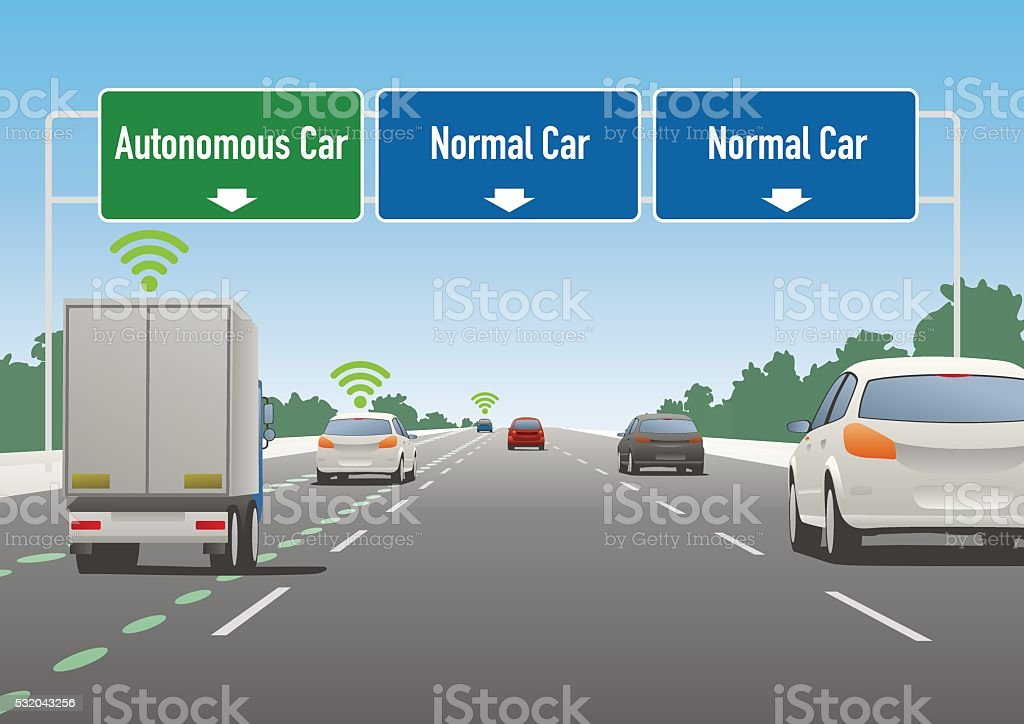 highway sign illustration, autonomous car lane, normal car lane vector art illustration