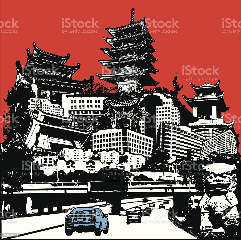 Highway to the Far East vector art illustration