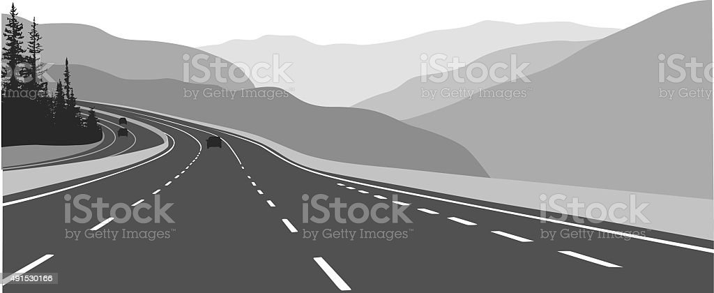 Highway To Vancouver Canada vector art illustration