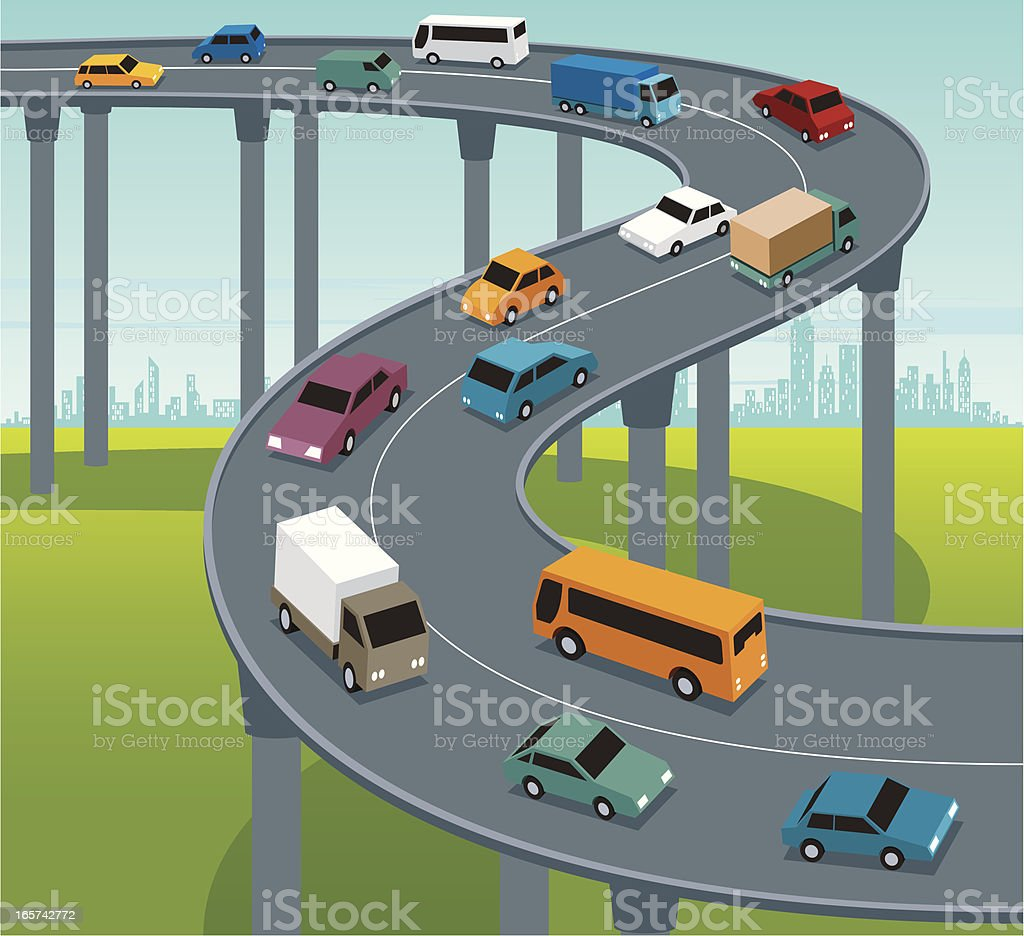 Highway Traffic royalty-free stock vector art