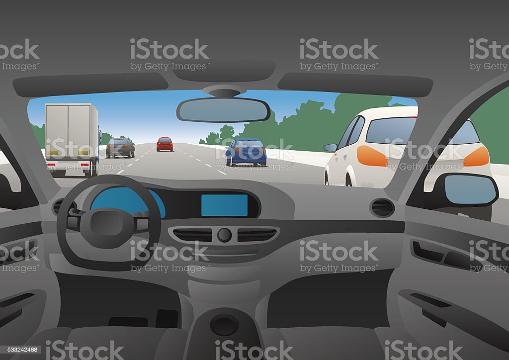 Highway viewed from the motor vehicle vector art illustration