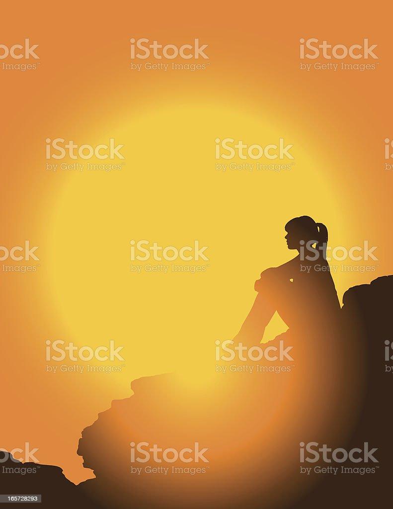 Hiker At Sunset vector art illustration