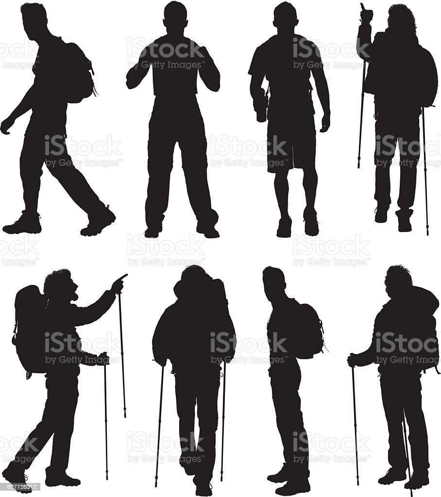 Hiker in various actions vector art illustration