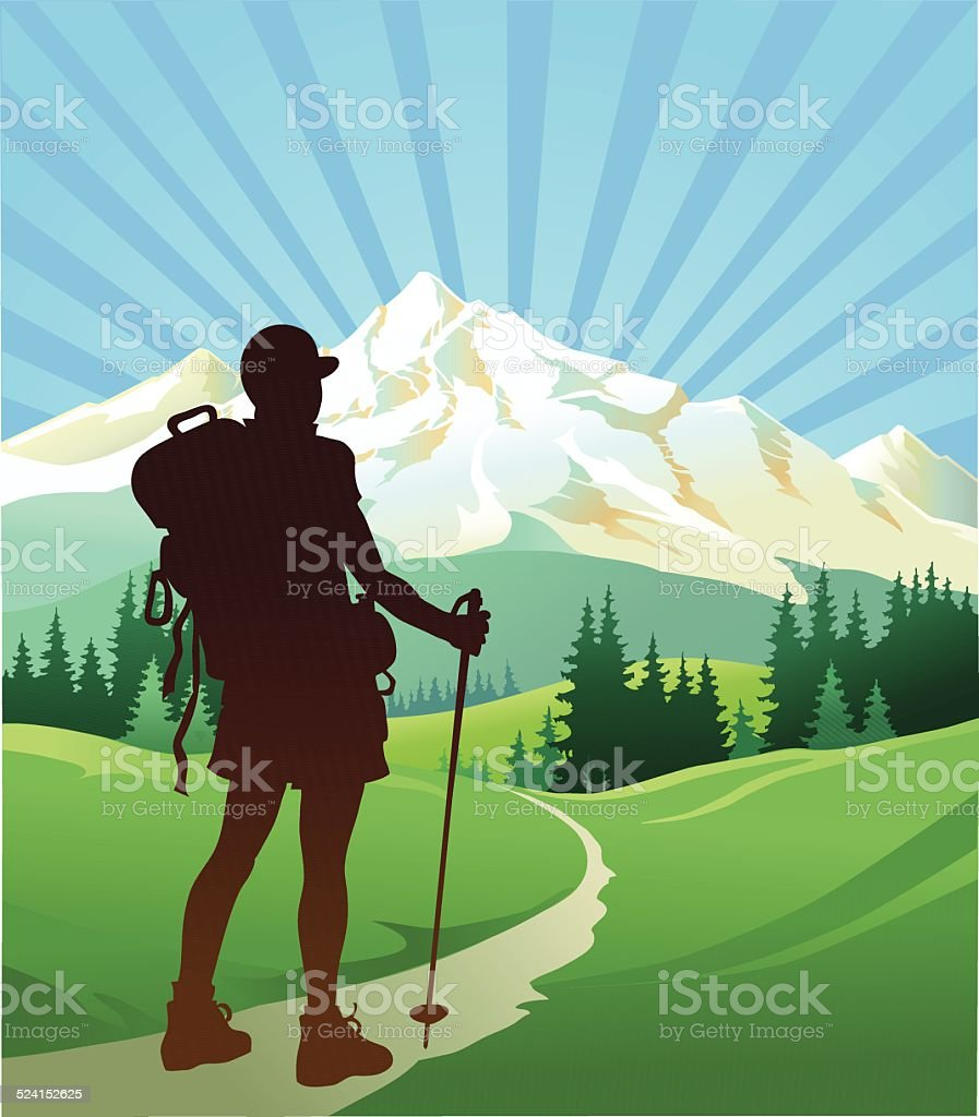 Hiker Looking at the Mountain vector art illustration