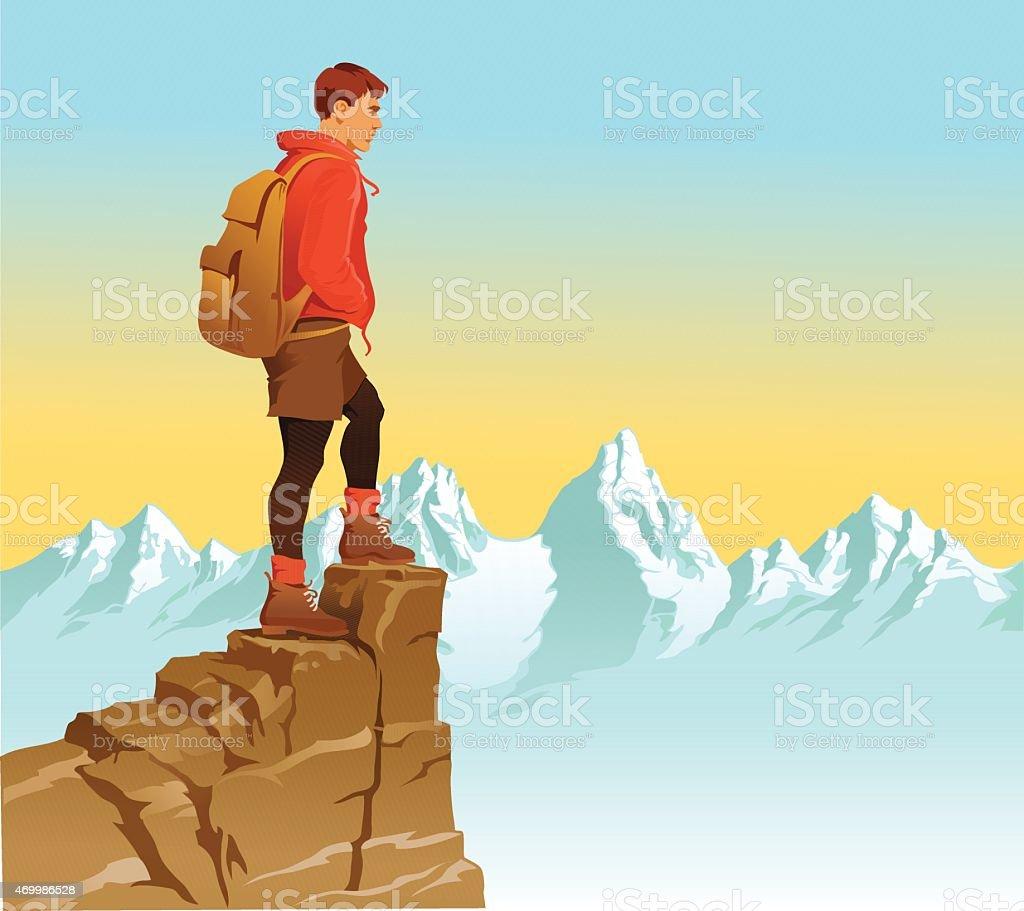 Hiker Looking Over The Mountain Range vector art illustration