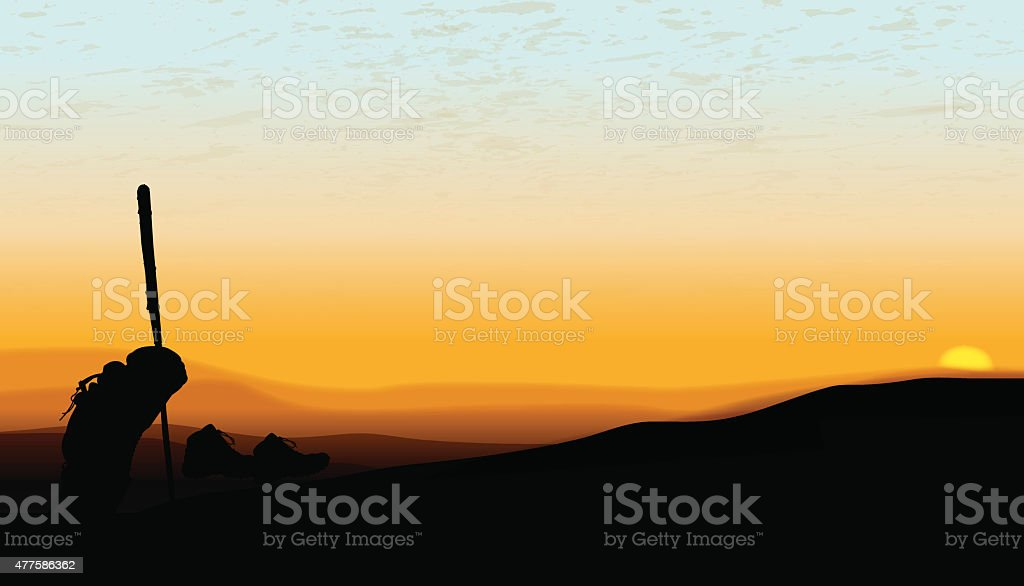 Hiker Resting at Sunset on the Horizon Background vector art illustration