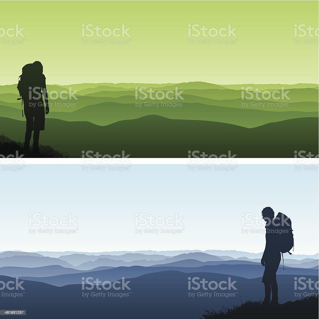 Hiker vector art illustration