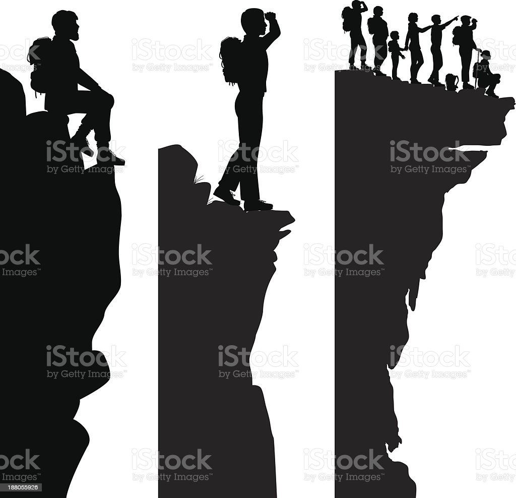 Hiker viewpoints vector art illustration