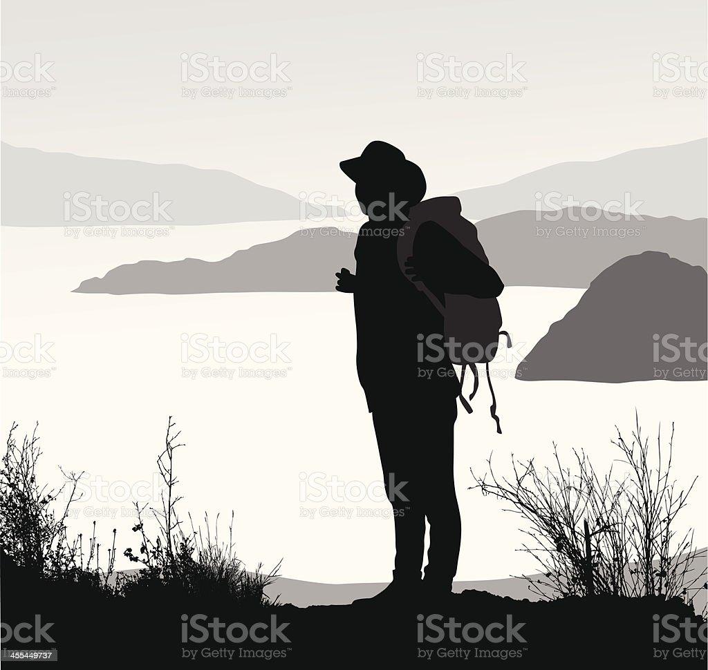 Hiker'n Lake royalty-free stock vector art
