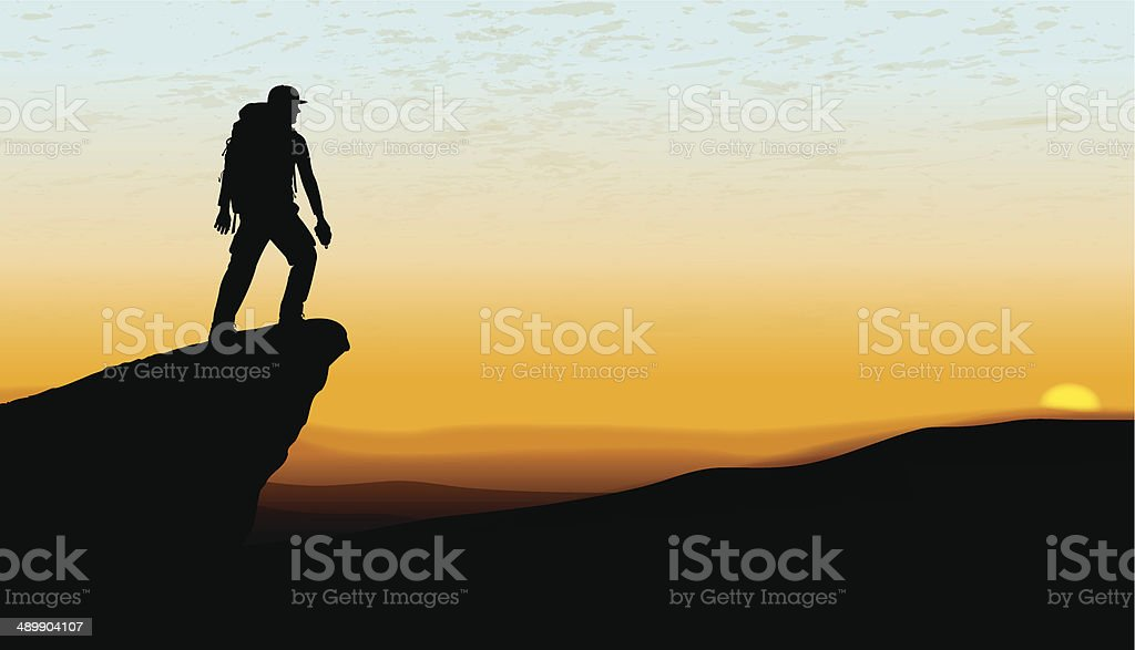 Hikers at Sunset - Pinnacle, Mountain Top, Lookout Background vector art illustration