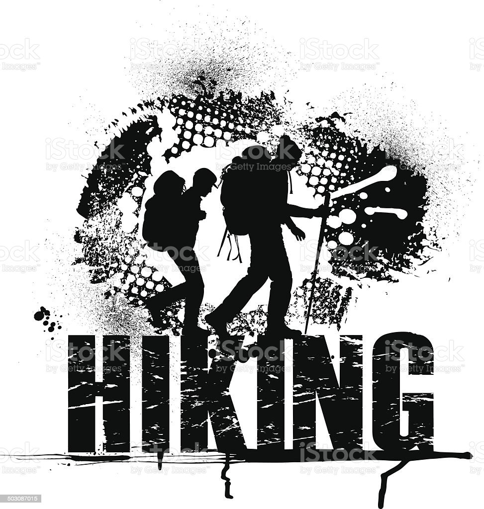 Hikers Grunge Graphic royalty-free stock vector art