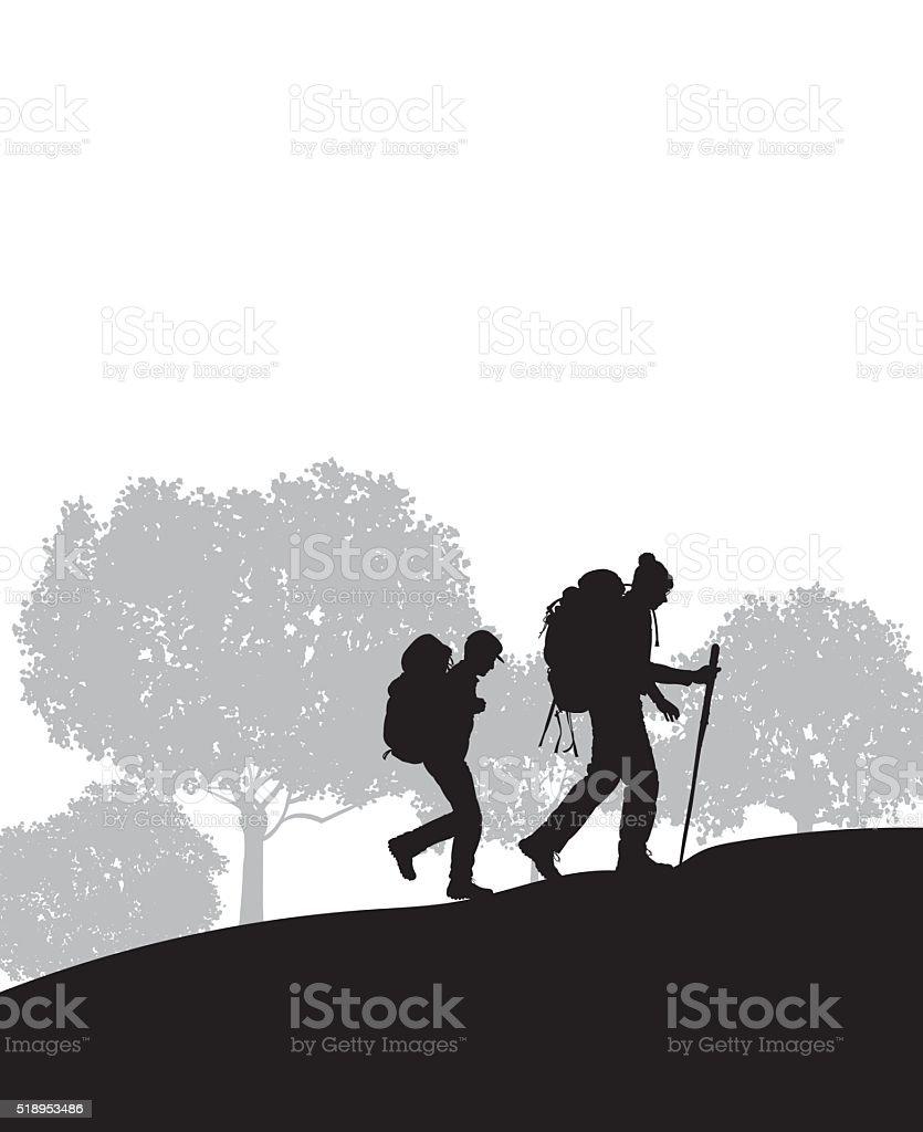 Hikers, Hiking Background vector art illustration
