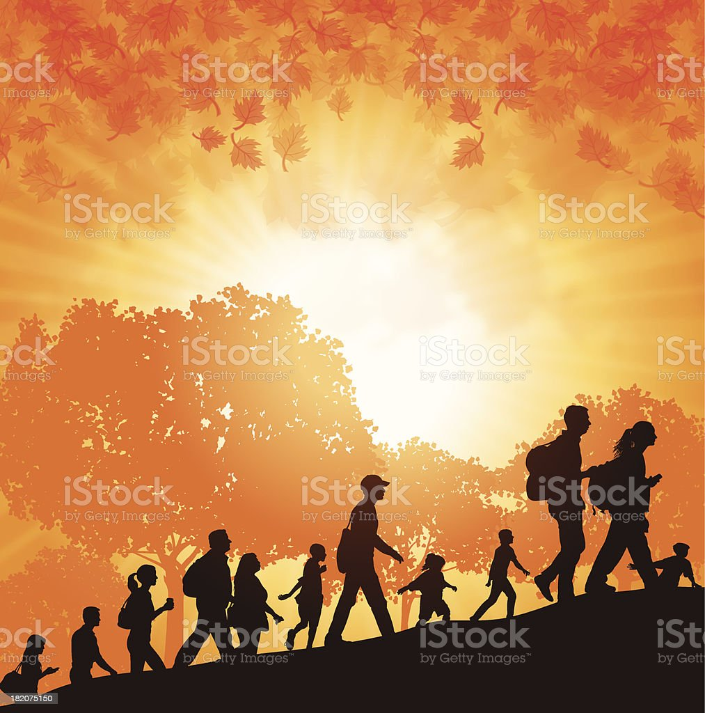 Hikers or Walk-A-Thon in Autumn royalty-free stock vector art