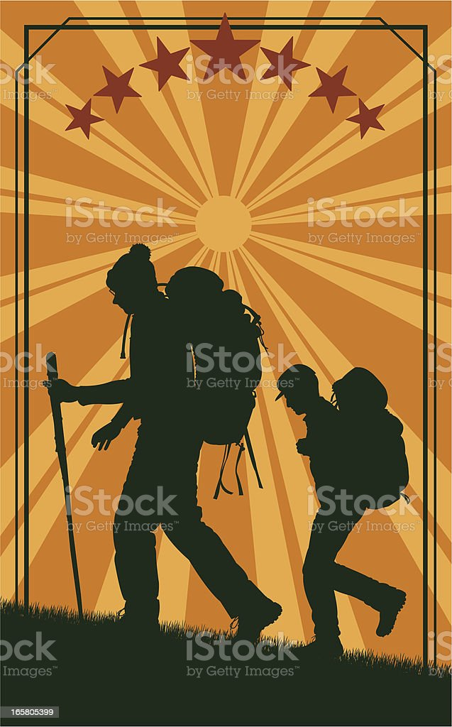 Hikers - Retro Style Background royalty-free stock vector art