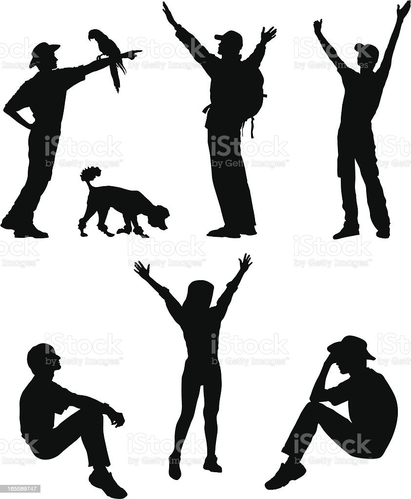 Hikers silhouettes vector art illustration