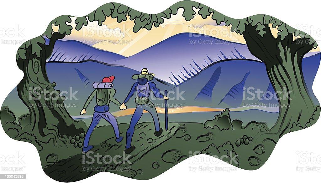 Hikers royalty-free stock vector art