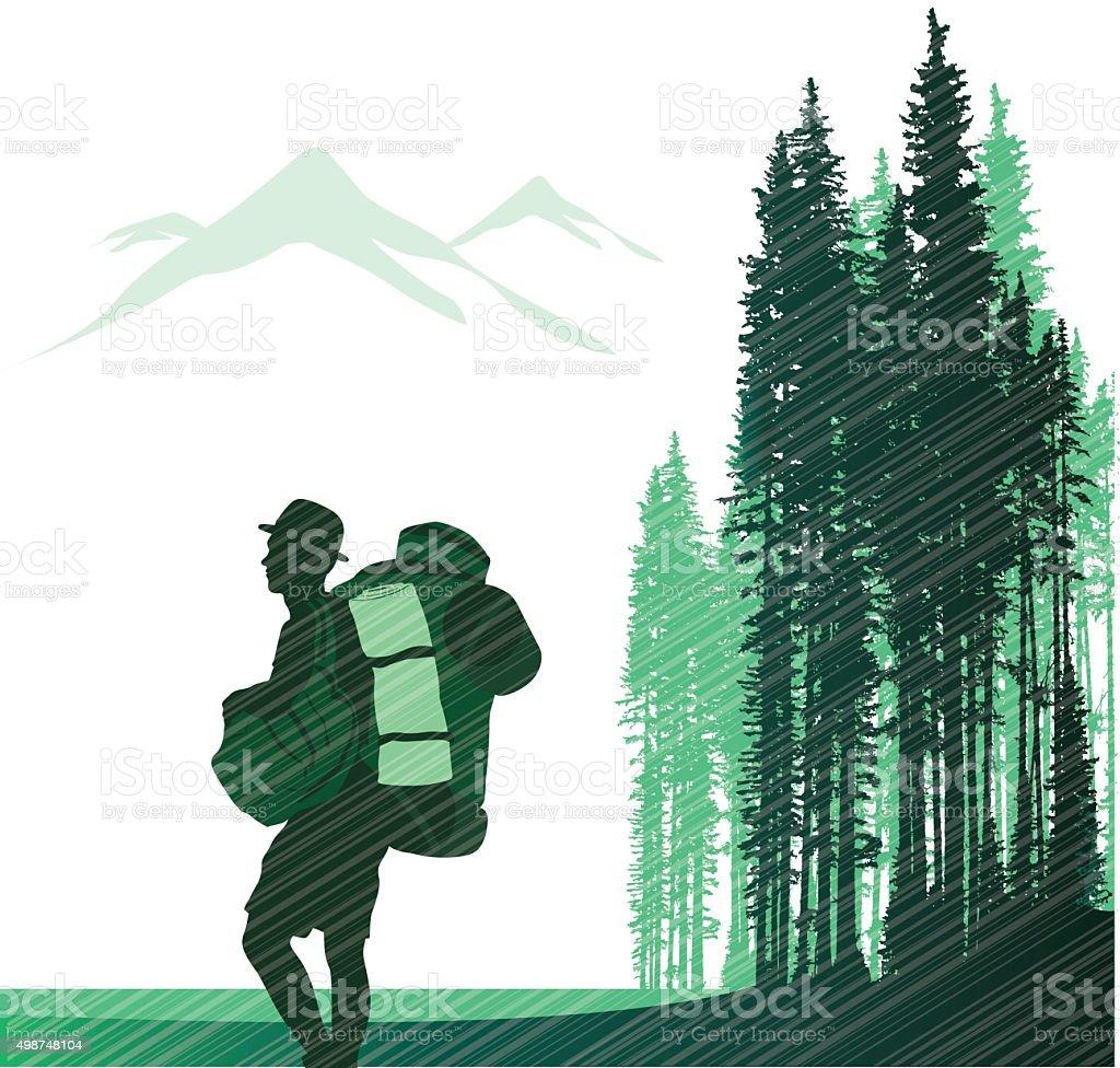 Hiking Alone vector art illustration