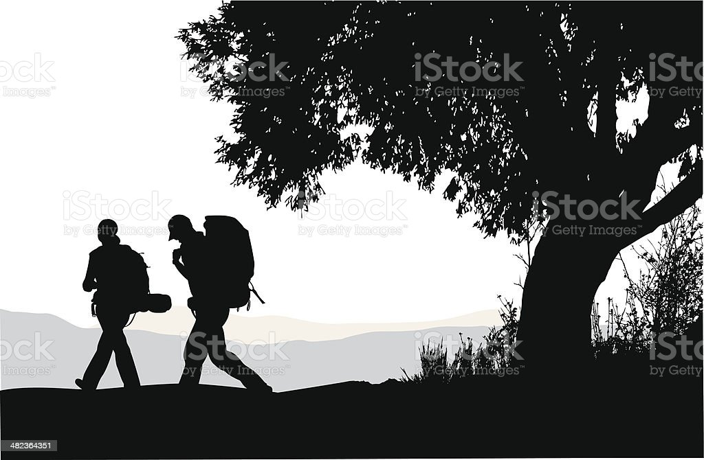 Hiking Along royalty-free stock vector art