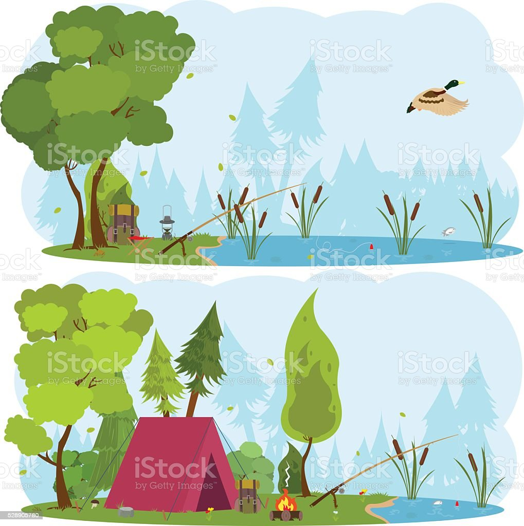 Hiking and camping. Vector flat illustration vector art illustration