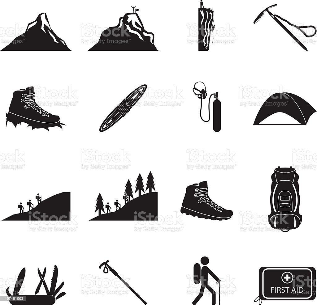 Hiking and mountain climbing icon set vector art illustration