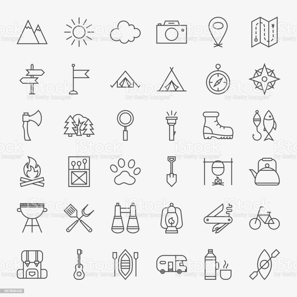Hiking and Outdoor Line Icons Set vector art illustration
