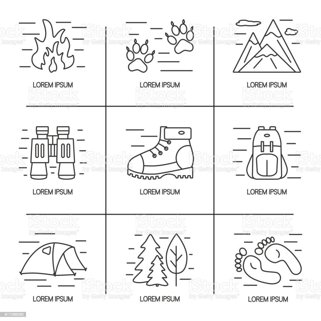 Hiking and travel line icons set. Logo design for outdoor concept. vector art illustration