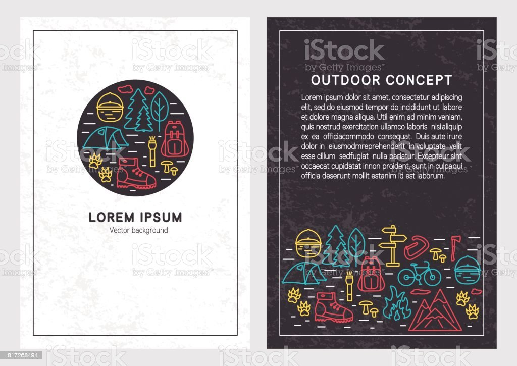 Hiking and travel linear design. Stylish background templates for for cards, posters, banners, prints and outdoor concept. vector art illustration