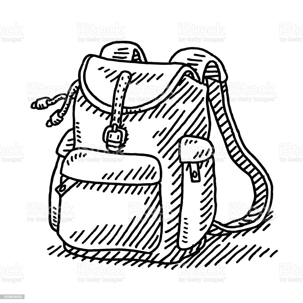 Hiking Backpack Drawing vector art illustration