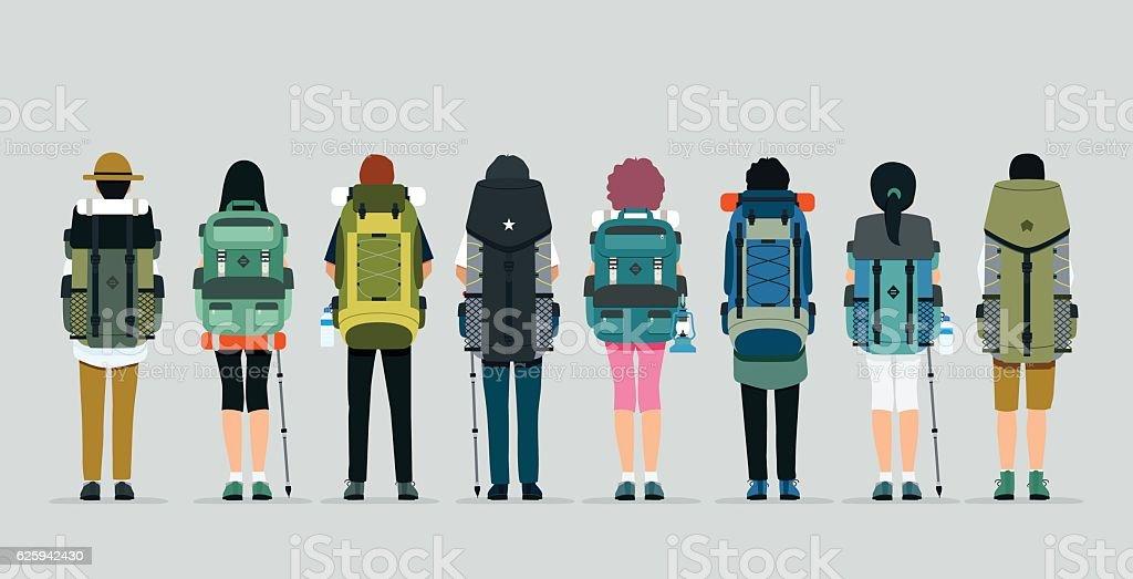 Hiking bag vector art illustration