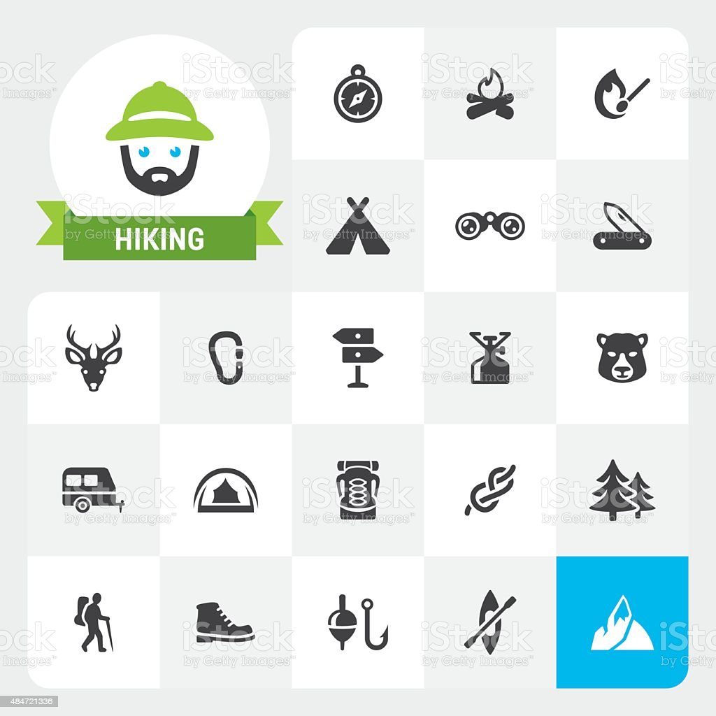 Hiking base vector icons and label vector art illustration