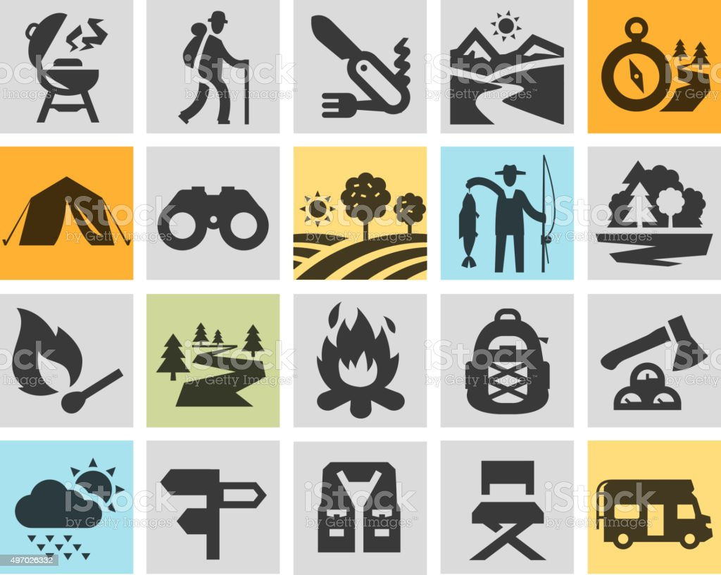hiking black icons set. trip, walking tour or expedition, camping vector art illustration