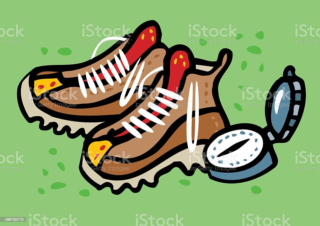 Hiking boots and compass for hiking vector art illustration