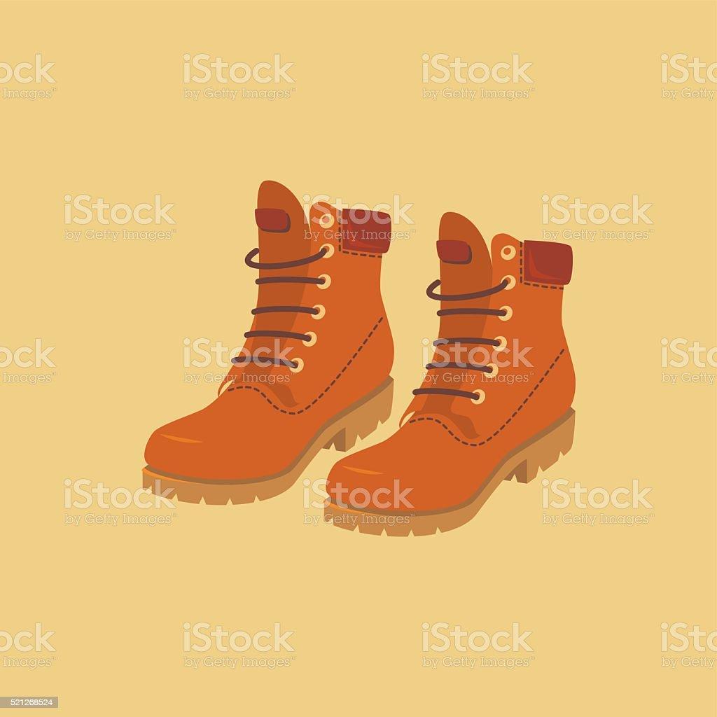 Hiking boots vector art illustration
