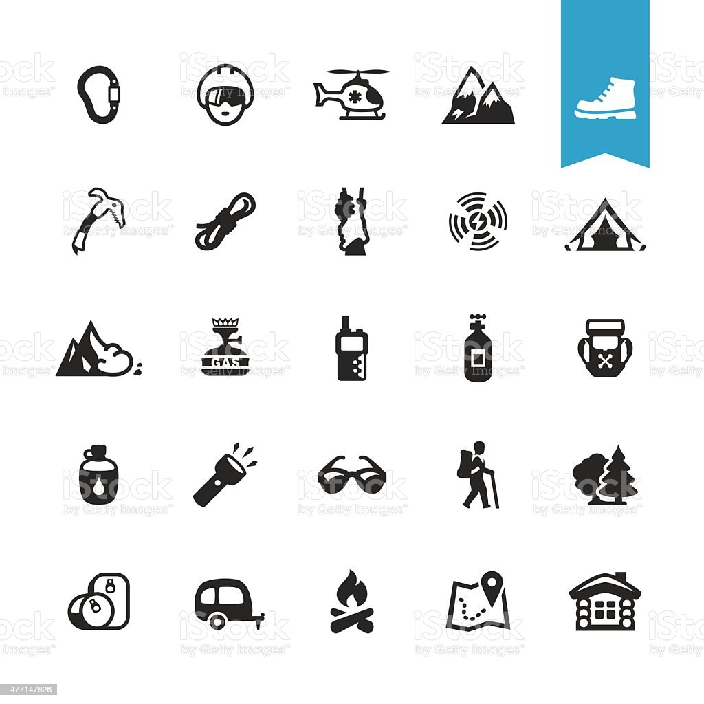 Hiking, Camping and Climbing related vector icons vector art illustration