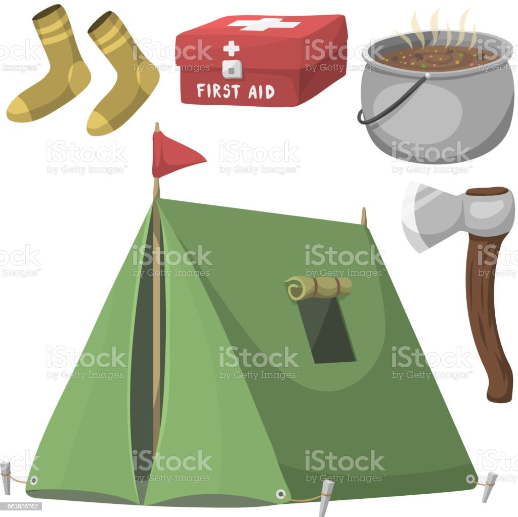 Hiking camping equipment base camp gear and accessories outdoor cartoon travel vector illustration vector art illustration