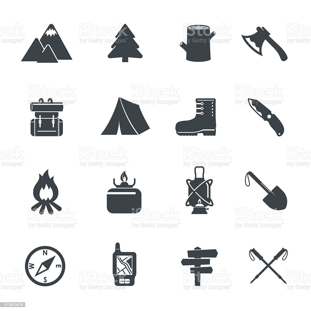 Hiking Equipment Icons. vector art illustration