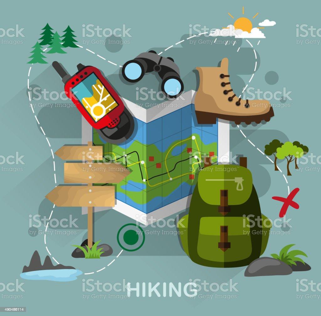 Hiking equipment vector art illustration
